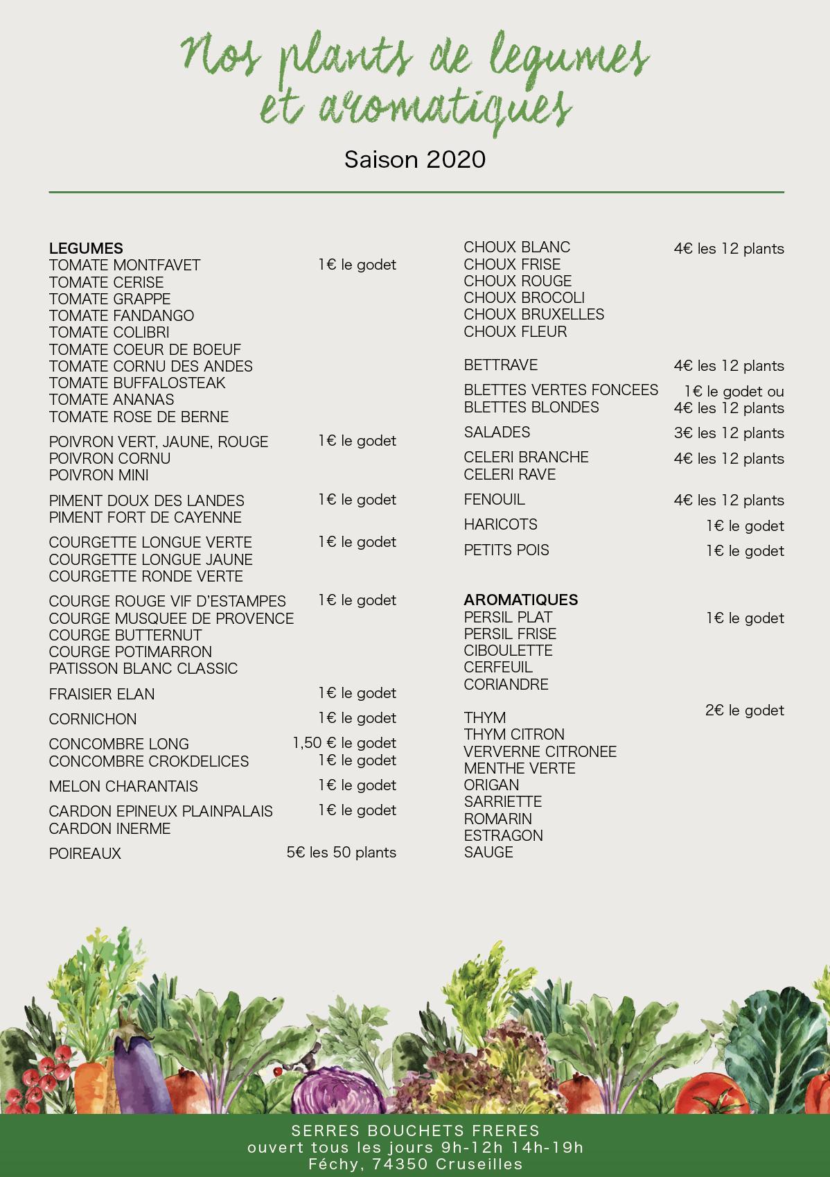 Liste plants légumes aromatiques Bouchet Freres Cruseilles